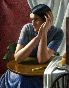 Clara by Dod Procter Oil on canvas, x 59 cm Collection: The Potteries Museum & Art Gallery Matisse, Elizabeth Forbes, Gauguin, Museum Art Gallery, Art Deco, Art Nouveau, English Artists, Post Impressionism, Art Uk