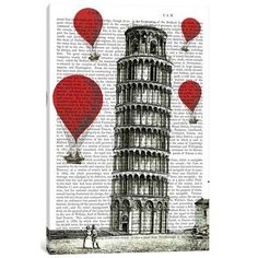 """East Urban Home 'Red Hot Air Balloons Series: Tower of Pisa' Graphic Art Print on Canvas Size: 26"""" H x 18"""" W x 0.75"""" D"""