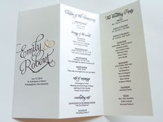 Scripted Pearl Shimmer Trifold Wedding Programs - Wedding Program - Order of Service. $75.00, via Etsy.