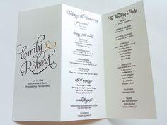 Scripted Pearl Shimmer Trifold Wedding Programs - Wedding Program - Order of Service. $75.00, via Etsy.