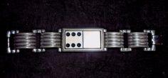 A Vintage DOMINO and White Metal Mod Chunky DESIGNER Bracelet, Signed, MARLA…