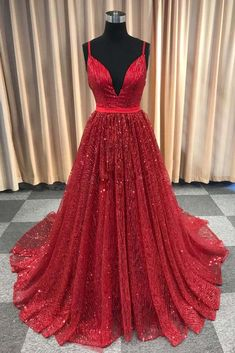 Chic A-line Spaghetti Straps Sparkly Long Prom Dress Beautiful Red Prom Dress Evening Formal Gowns Sparkly Prom Dresses, Gorgeous Prom Dresses, A Line Prom Dresses, Evening Dresses, Party Dresses, Burgundy Evening Dress, Formal Gowns, Dress Formal, Formal Prom