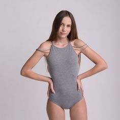 WEB COLLEGE GREY bodysuit by bodysuits on Etsy