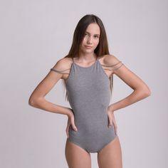 WEB COLLEGE GREY bodysuit by bodysuits on Etsy