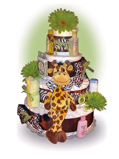 Our 4 Tier Safari Diaper Cake is designed and built from scratch, and is an ideal gift for either baby boys or girls. Its safari theme appeals to moms with a sense of adventure and a thirst for exploration, and standing at 18 inches tall is jam packed with luxurious baby products. Only $94.00