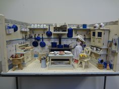 Fantastic German Blue and White Kitchen with Rare Accessories and Doll