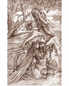 Forest Sorceress by Ed Beard Jr Dragon Fantasy Myth Mythical Mystical Legend Dragons Wings Sword Sorcery Magic Coloring pages colouring adult detailed advanced printable Kleuren voor volwassenen coloriage pour adulte anti-stress kleurplaat voor volwassenen Line Art Black and White