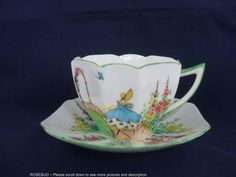Shelley Queen Anne Crinoline Lady Porcelain Cup and Saucer Hand Painted~Gorgeous | eBay