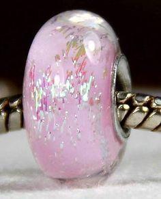 PINK SPARKLE Authentic Handmade SS Core European Lampwork Glass Beads JS SRA