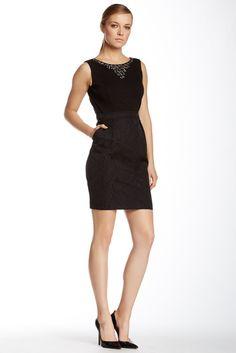 Ellen Tracy Embellished Jacquard Dress