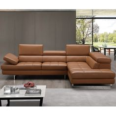 J&M Furniture Napoli Italian Leather Sectional Caramel Right Facing Chaise Living Room Sectional, Ergonomic Chair, Leather Sectional, Mid Century Furniture, Diy Fence, Modern Furniture, Living Room Decor, Interior Design, House Styles