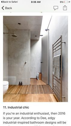 I like concrete walls and timber plus no glass for the shower