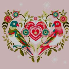 Folk Embroidery Valentine Wycininki (Polish folk art) More - Valentines Day Design : Love is something eternal - the aspect may change, but not the essence. Every February across the world, candy, flowers and gifts are exchanged between loved ones to Vogel Illustration, Polish Folk Art, Frida Art, Scandinavian Folk Art, Guache, Folk Embroidery, Embroidery Patterns, Arte Popular, Tole Painting