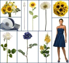 Navy blue dresses with yellow and white bouquets - sunflower bouquets