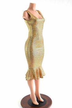 6f350b38 Gold Mermaid Holographic Ruffled Tank Style Wiggle Dress in Gold Fish Scale  Spandex -152836