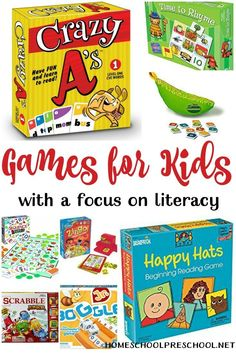 These literacy-focused preschool board games encourage learning through play. | homeschoolpreschool.net via @homeschlprek