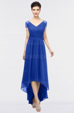 Dazzling Blue Elegant V-neck Short Sleeve Zip up Appliques Bridesmaid Dresses (Style D05774)