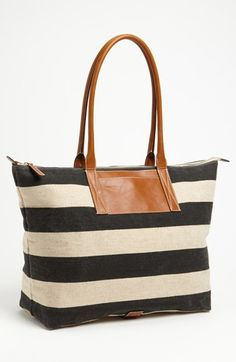Stripe Tote Black/ Natural
