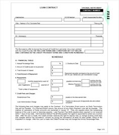 Equipment Loan Contract Form   Great Loan Agreement Template