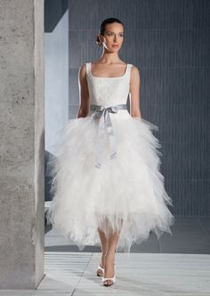 Short tea lenth tulle wedding design inspired by EdelweissBride, $450.00