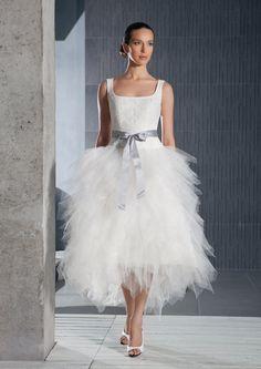Short tea lenth tulle wedding design inspired by EdelweissBride, $450.00