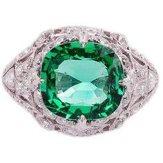 3.50 Carat Emerald Platinum Filigree Diamond Setting ❤ liked on Polyvore featuring jewelry, emerald diamond jewelry, diamond jewellery, diamond jewelry, platinum jewellery and art nouveau jewellery