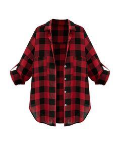 Sweet Plus Size Plaid Shirt For Women