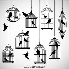 Pack de siluetas de jaulas de pájaro Vector Gratis
