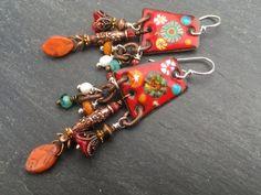 Harvest Apple Earrings Enameled Copper Earrings by FeminineGenius