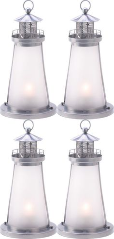 4 Frosted Lighthouse Lantern Candleholder Table Decor Wedding Centerpieces #Unbranded