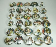30 Alice in Wonderland Flat Back Buttons  01 by PapaSupply on Etsy, $9.90