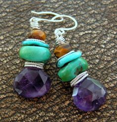 Peacock Gems - faceted amethyst, turquoise, and tiger eye earrings handcrafted by me!  Find them in my ArtFire jewelry shop...thanks!!