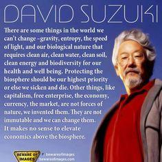 """It makes no sense to elevate economics above the biosphere."" ~David Suzuki"