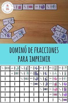 [IMPRIMIBLE gratuito] Dominó de fracciones para aprender jugando. Math For Kids, Fun Math, Math Games, Math Activities, Teaching Fractions, Math Fractions, Teaching Math, Touch Math, Math Projects