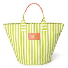 """Www.youravon.com/mzsheshe  This bright and cheerful lime & white striped fully-lined oversized beach bag is big enough to fit all your swim-time essentials. Features one inner slip pocket, double peach handles and a decorative peach plate with a yellow embroidered sun.  · Size: 14 1/4"""" H x 23 1/4"""" W x 13"""" D; 7 1/2"""" handle drop  · Textile: 97% Cotton, 3% Rayon  · Backing: PVC  · Cleaning: Wipe with a dry cloth  · Imported"""