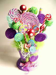 Fake Candy Centerpiece Fake Lollipops Rock Candy Cake Pops great For Alice in… Crazy Hat Day, Crazy Hats, Willy Wonka, Easter Hat Parade, Candy Themed Party, Candy Centerpieces, Candy Costumes, Candy Bouquet, Maquillage Halloween