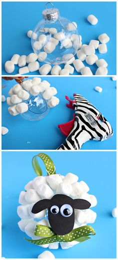 Marshmallow Sheep Christmas Ornament - Fun craft idea for older kids to make gifts!   CraftyMorning.com