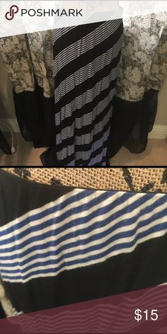 Max Studio Maxi skirt Max Studio size M Maxi skirt black and blue and white striped. This one is adorable and soft not new has been worn and washed Max Studio Skirts Maxi