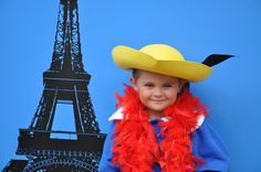 Madeline party photo backdrop bring in props so kids can dress as Madeline or Pepe