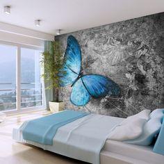 Blue Butterfly x Wallpaper East Urban Home 3d Wallpaper Mural, Floor Wallpaper, Wallpaper Roll, Bedroom Wall Designs, Bedroom Bed Design, Bedroom Decor, Large Wall Murals, Mural Wall Art, Butterfly Wall