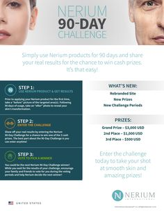 Nerium 90 Day Challenge! Use a product for 3 months, submit your Before & After photo, and you could win $3,000! Other prizes - $1,000, $500. Message me if you'd like to participate - Click here to get started!