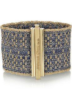 Carolina Bucci ~  Woven 18-karat gold and silk cuff