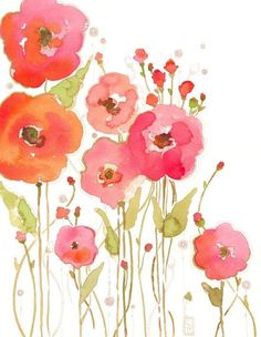 Watercolor poppies - love the colors and the loose watercolor look