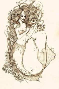 Beautiful mermaid sketch..would make awesome tattoo. Yes, yes, yes!!