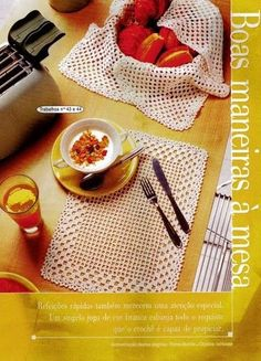 Lindinho e facinho de fazer.        Fonte: Revista Trabalhos em crochê n.18 Especial BANHEIRO & COZINHA Crochet Tablecloth Pattern, Crochet Placemats, Crochet Doily Diagram, Crochet Doilies, Easy Crochet, Crochet Home Decor, Diy And Crafts, Projects To Try, Knitting