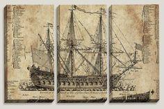 "Sale Coupon Code: LOVEART ""Old Dark Moon"" Old Ship Blueprint, Canvas Art, Nautical, Office Decor, Man Cave, Boys Room Decor by Joelle Joy"