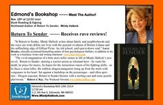 [November 15, 2014] RETURN TO SENDER author Mindy Halleck will be reading and signing copies of her new book at Edmond's Bookshop in Edmonds, Washington.