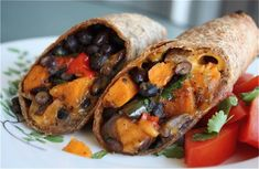 Roasted Veggie and Black Bean Burritos -- these are a favorite and are perfect for #meatlessmonday
