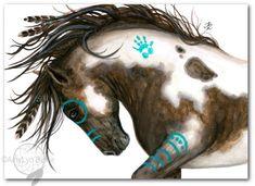 Majestuoso Mustang Pinto americano nativo espíritu pintura