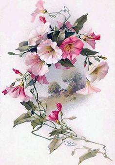 Vine Drawing, Leaf Drawing, Botanical Drawings, Botanical Prints, Watercolor Flowers, Watercolor Art, Vintage Floral Wallpapers, Watercolor Paintings For Beginners, Batik Art